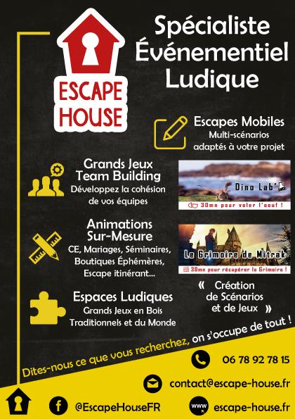 Escape house : animation et événement sur-mesure. Grands Jeux, Mariages, Escape : demandez-nous VOTRE projet inoubliable !